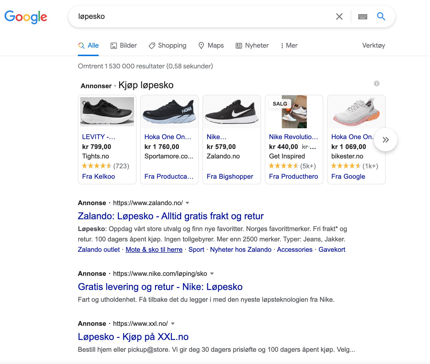 Googlesøk på løpesko